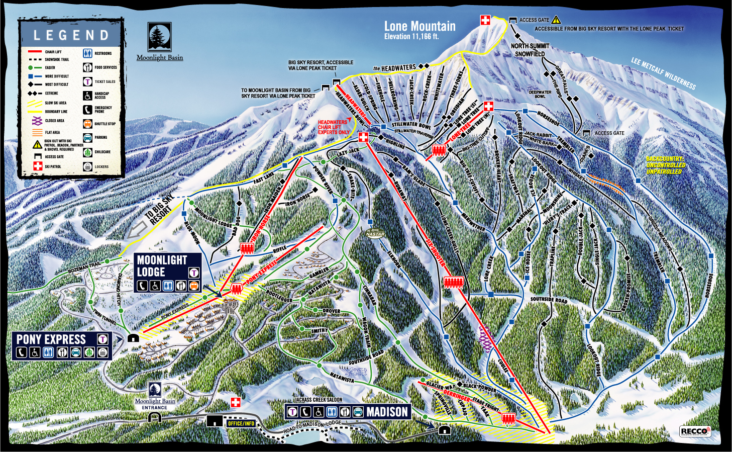 moonlight basin skiing trail map