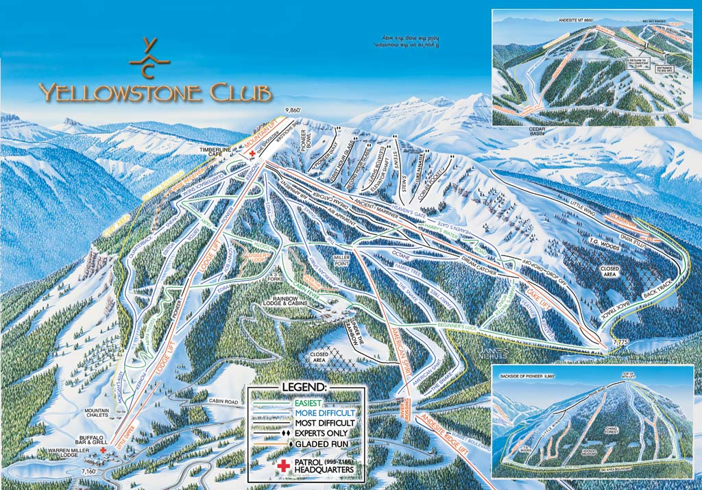 yellowstone club trail map, exquisite skiing